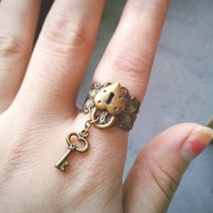 Key To My Heart Ring Heart Key Filigree Ring